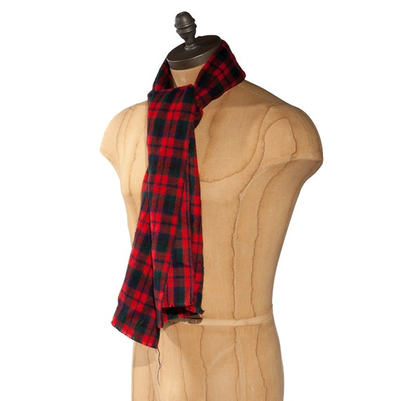 Vintage Plaid Scarf in Traditional Black and Red Lumberjack Style