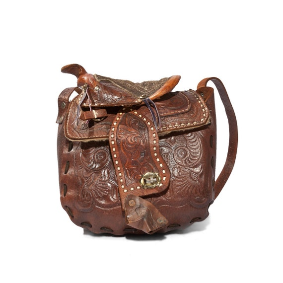 Vintage Western Brown Tooled Leather Purse Horse Saddle Bag Cowboy Fashion