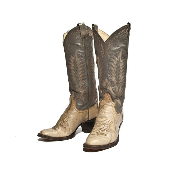Vintage Larry Mahan Cowboy Boots Stacked Heel Marbled Gray