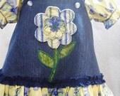 Girls Dress 2T Toddler Children Clothing Denim Appliqued Jumper OOAK Handmade Boutique Kid Clothes Peasant Blouse.