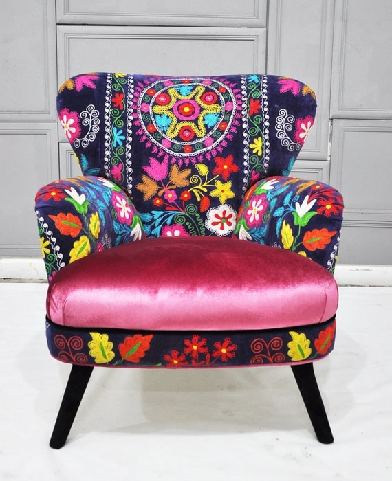 Patchwork armchair with Suzani and sweet pink velvet fabrics