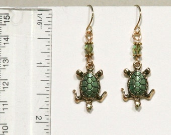 Green and Gold Tiny Turtle Earrings