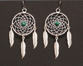 Dream Catcher Silver and Gemstone Dreamcatcher earrings with Feathers Jasper, Turquoise, Malachite, Lapis Lazuli, Unakite, Goldstone, Coral