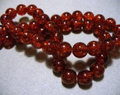 Crackle Glass Beads Red 8mm