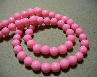 Glass Beads Pink Round 8mm