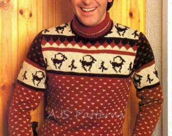 PDF Knitting Pattern for a Mans REINDEER or STAG Design Festive Nordic Sweater - Instant Download