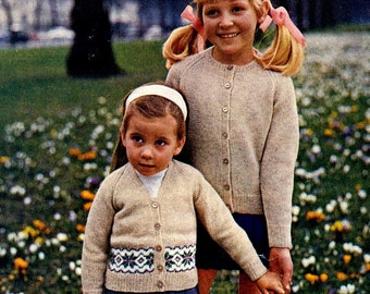 PDF Knitting Pattern for a Childs Classic Design Fair Isle and Plain Cardigan.