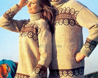 PDF Knitting Pattern for a Unisex Polo Neck Norwegian or Fair Isle Sweater - Instant Download