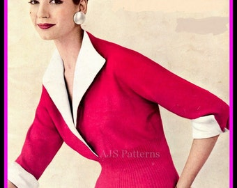PDF Knitting Pattern for a 1950's Vogue Knitted Jumper - Instant Download