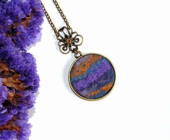 Felt Pendant Necklace purple gold blue violet