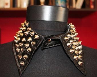 SALE  Studded Collar Steampunk Black Satin Collar Rock Punk Goth Steampunk Spiked