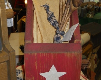 Primitive Rustic Wooden spoon cubby 3 piece set