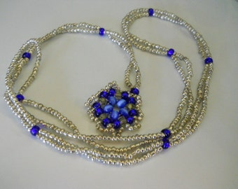 Silver and Cobalt Lariate Necklace