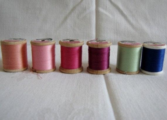 Vintage Sewing Thread Talon 125 yds Wooden Spools Mercerized