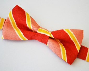 Mens Bowtie Adjustable Stripe in Coral and Mustard
