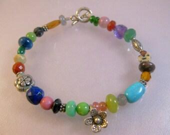 Gemstone and sterling silver celebration bracelet 2: charity donation