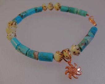 Narcozari turquoise, betel nut and copper bracelet: charity donation