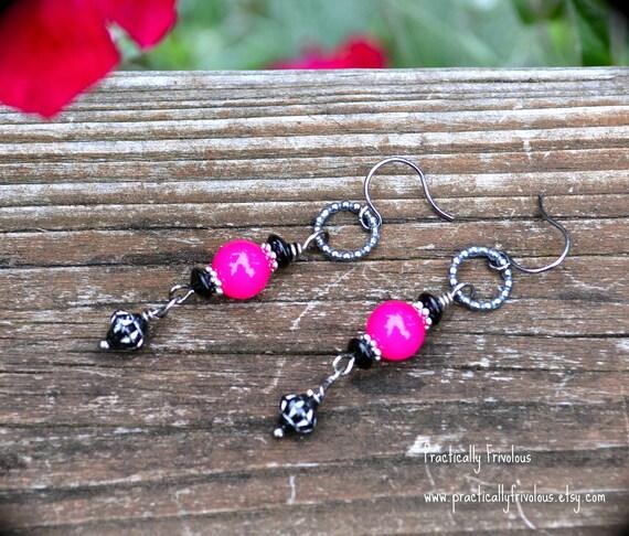Hot Pink and Black Earrings handmade gift