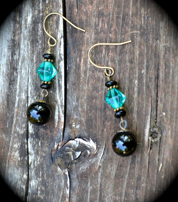 Black and Teal Earrings vintage glass jewelry handmade gift for her blue and black dangle earrings