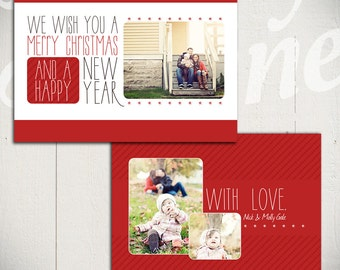 Christmas Card Template: White Christmas A - 5x7 Holiday Card Template for Photographers