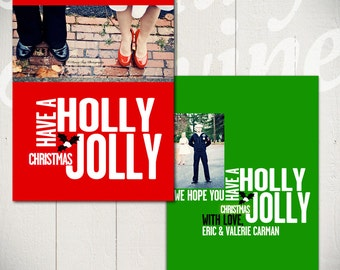 Holiday Card Template: Holly Jolly Christmas C - 5x7 Christmas Card Template