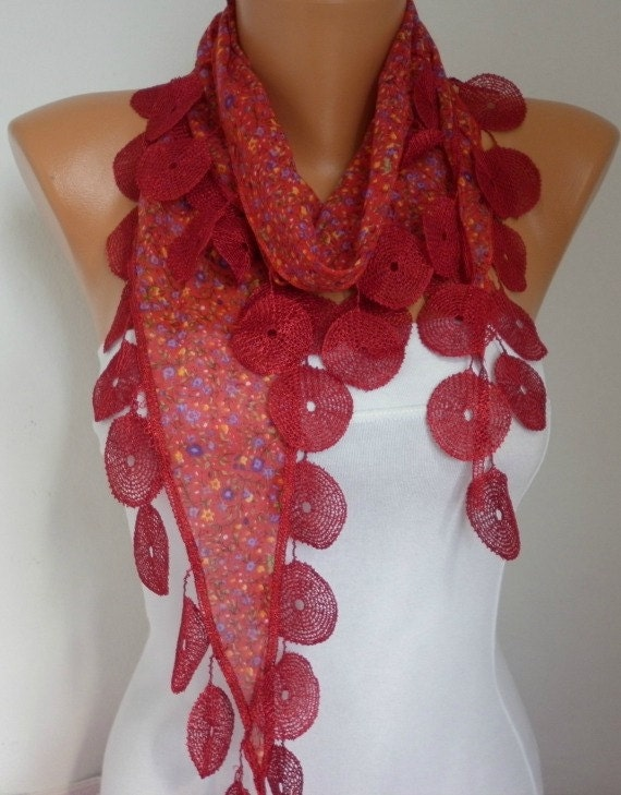Red Scarf Multicolor Scarf  - Cotton Scarf -  Cowl with  Lace Edge - RED
