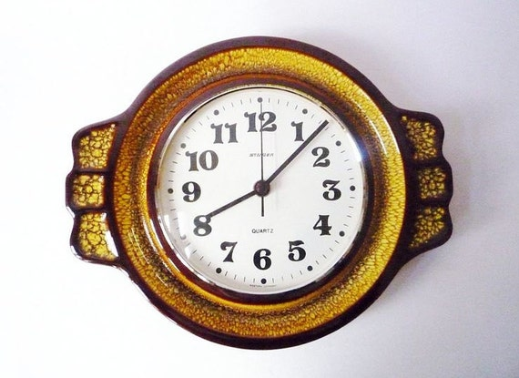 Vintage Ceramic Wall Clock from Staiger Made in Germany