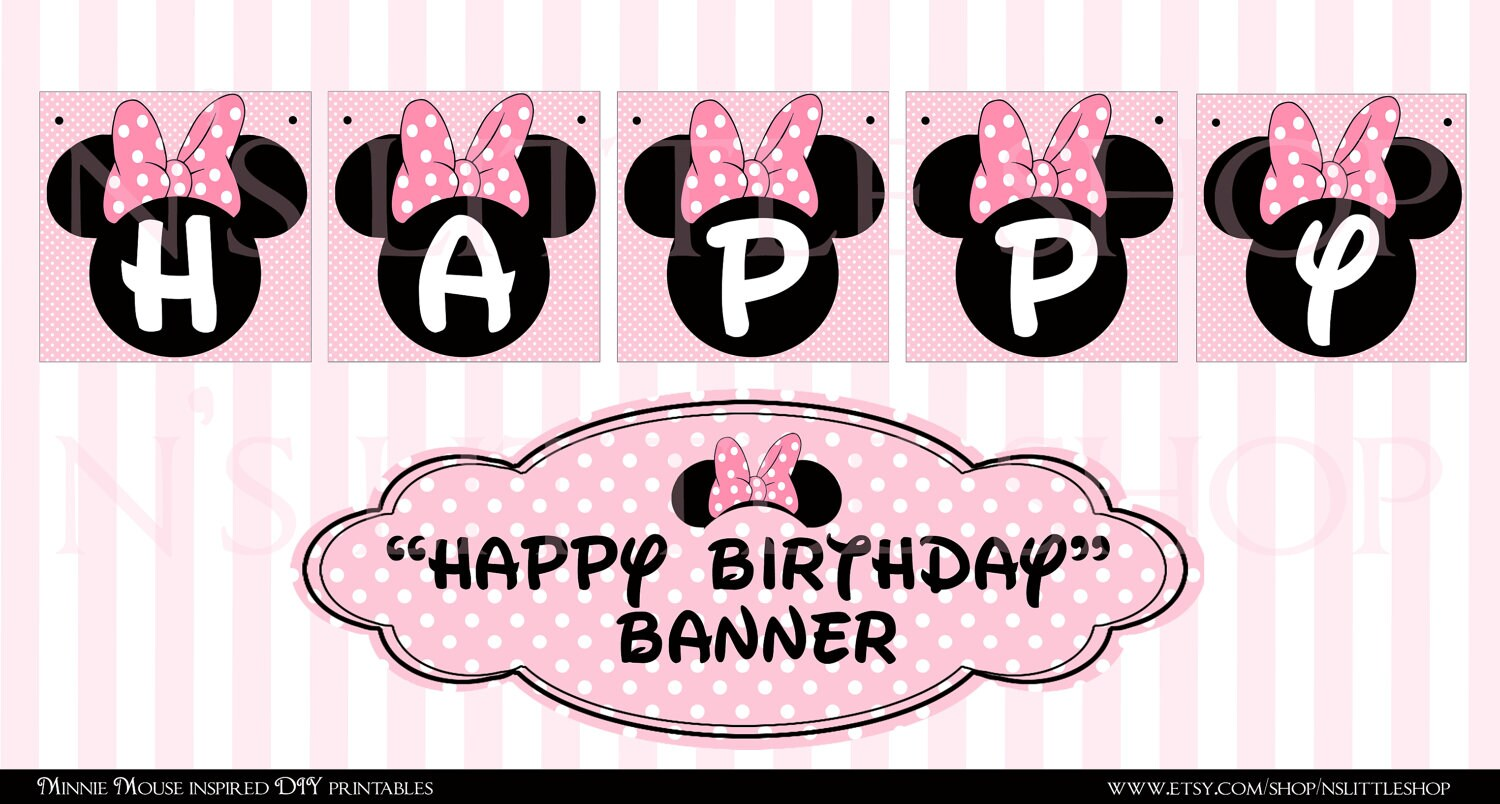 Minnie Mouse inspired Happy Birthday DIY printable by ...