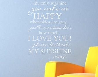 You are my Sunshine Subway Wall Art -Childrens Wall Decal Vinyl Lettering - Nursery Wall Decal - Vinyl Wall Art - girl or boy bedroom