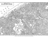 Cleveland Map - Street Map Vintage Print Poster