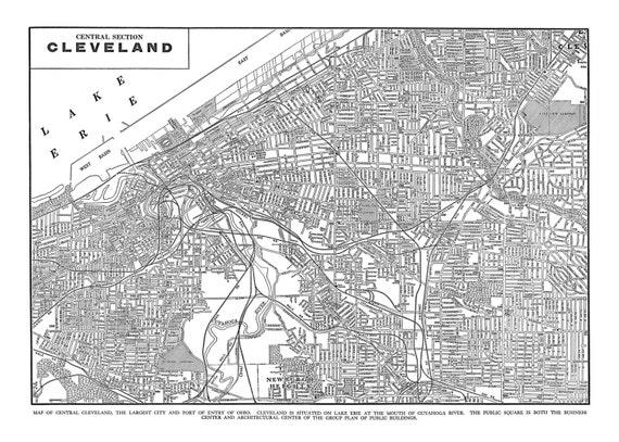 Cleveland Map - Street Map Vintage Print Poster