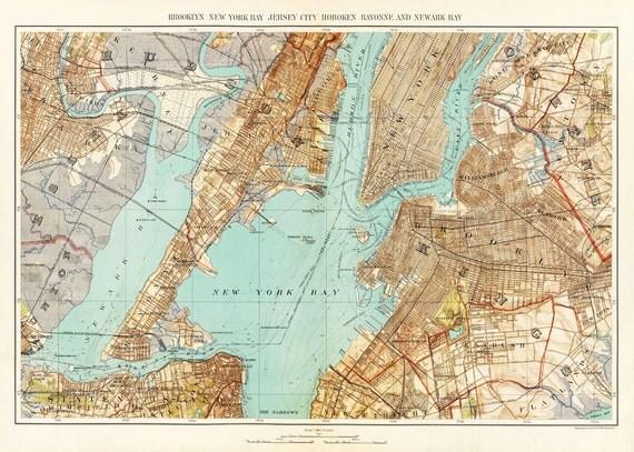 New York City Map 1893 Map of New York Newark Brooklyn Vintage