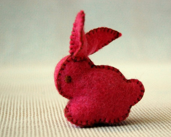 RED Small Felt BUNNY RABBIT Handmade Pure Merino Wool Felted Toy
