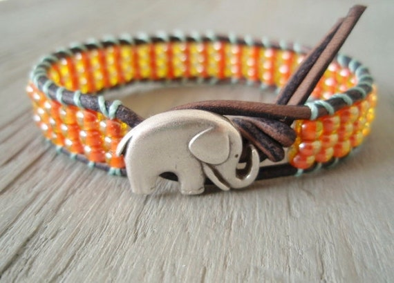 "Orange Elephant beaded leather bracelet ""Baby Elephant"", tangerine, aqua, bohemian friendship bracelet, good luck charm, silver"