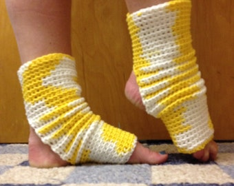 Yoga Socks in Yellow and White Cotton US Grown -- for Yoga, Pilates, Dance, Pedicures