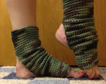 Yoga Socks in Camouflage Cotton US Grown -- For Dance, Pilates, Pedicures