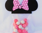 Minnie Mouse Favor Party Bags with PINK POLKA DOT bow perfect for your Party Shower 25 Count