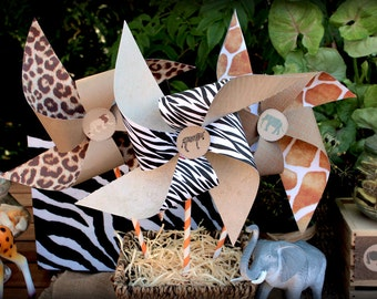 Safari Pinwheels Templates - INSTANT DOWNLOAD - DIY Printable Birthday Party Decorations, Decor, Template, Favor by Sassaby Parties
