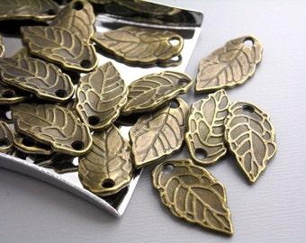 CHARM-AB-LEAF-16MM - 20 pcs Antique Bronze Mini Leaf Charms