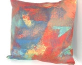 Colorful Abstract Pillow Cover 16 x 16 - Bright Modern Handmade Pillow Cover