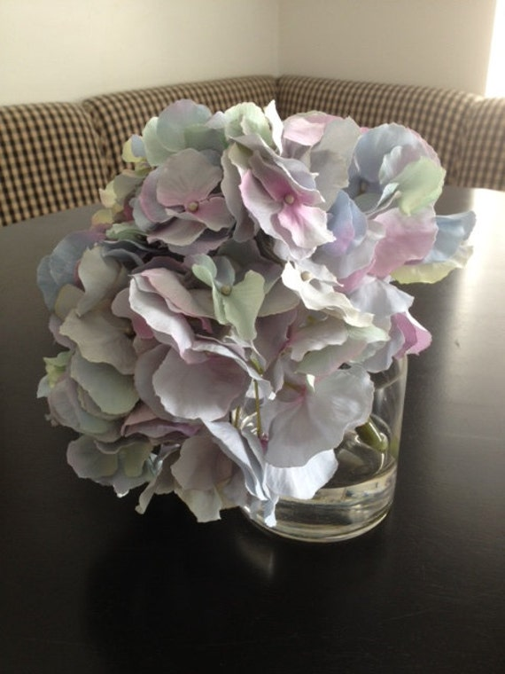 Fine Silk Floral Arrangement Faux Blue Purple Hydrangea In Cylinder with Illusion Faux Water by PalmBeachFlowerGirl