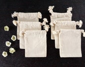 Do-It-Yourself Blank Natural Muslin Drawstring Bag (3 x 4 inches) - Set of 6