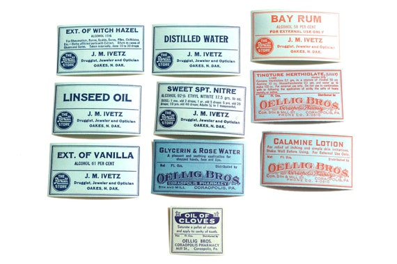 Antique Medicine Apothecary Pharmacy Labels (No.2) from 1890s (Set of 10 blue labels) - Paper Crafts, Altered Art, Halloween Decor and more