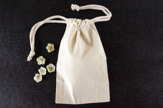 Do-It-Yourself Blank Natural Muslin Drawstring Bag (5 x 8 inches) - Customize with paint, stamps and ink, and more