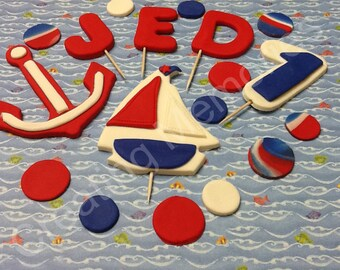 Fondant Sailor Boat Cake Topper Set. Saling to your cake with this cute salboat made of vanilla fondant, all edible ready to use