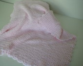 Handmade 100% Acrylic Baby Pink Crib Blanket - 2107