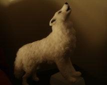 Artist Needle Felted Arctic Wolf Sculpture - Howl - OOaK White Wolf Sculpture