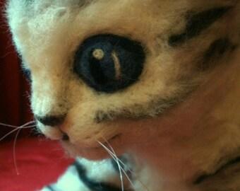Artist Needle Felted Life Size Scottish Fold Kitten Sculpture - OOaK - Bonni