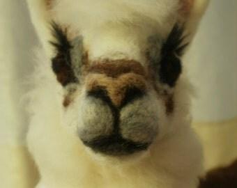 Artist Needle Felted Llama Sculpture  - OOaK Llama Sculpture - Tina - Farm Sculpture