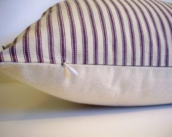 Purple Stripe Pillow Cover Plum Purple Ticking 16 18 20 22